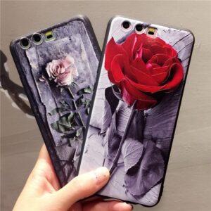 قاب طرح گل رز گوشی هواوی Lack 3D flower case | P10 Plus