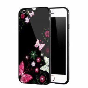 قاب محافظ طرح گل براق اپل TPU + Glass NXE Case | iphone 6 Plus