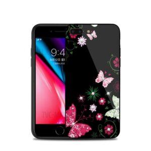 قاب محافظ طرح گل براق آیفون TPU + Glass NXE Case | iphone 8 Plus