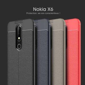 قاب طرح چرم اتو فوکوس نوکیا Auto Focus Leather Case Nokia 6.1 Plus | X6