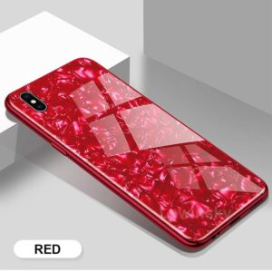 قاب طرح دار آیفون Makavo Tempred Glass Marble Case | iphone XS