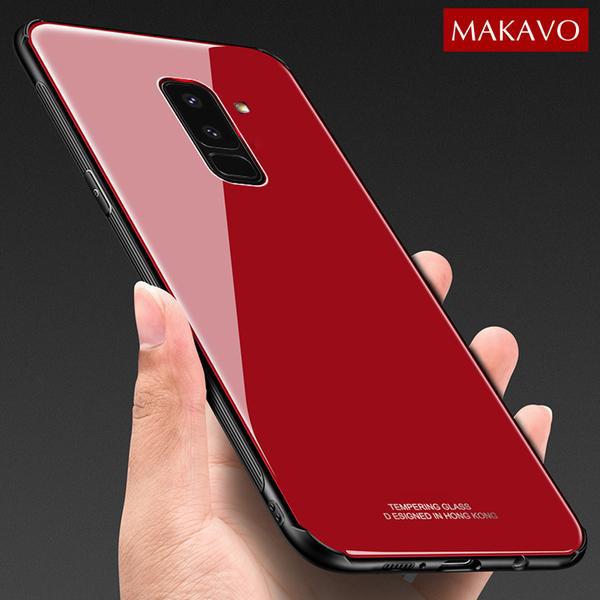 قاب محافظ پشت گلس سامسونگ Makavo Glass Cover | Galaxy A6 Plus 2018 |