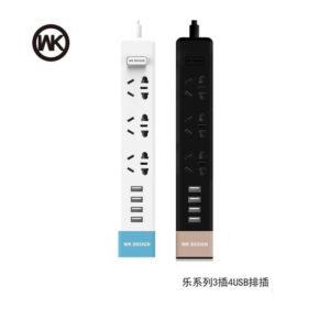 چند راهی برق و شارژر WK Design 3 AC With 4 USB Port WP-P01