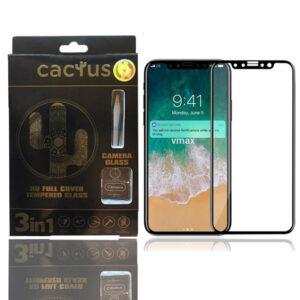 محافظ شیشه ای سه کاره گوشی اپل CACTUS 5D Full Cover 3 in 1 Glass | iphone X