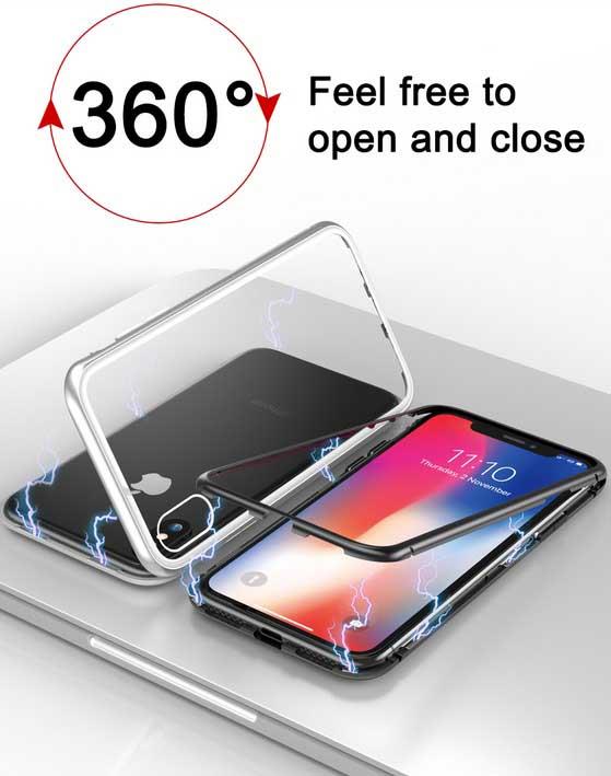قاب محافظ مگنتی آیفون Magnetic Adsorption Metal Bumper Case | iphone X