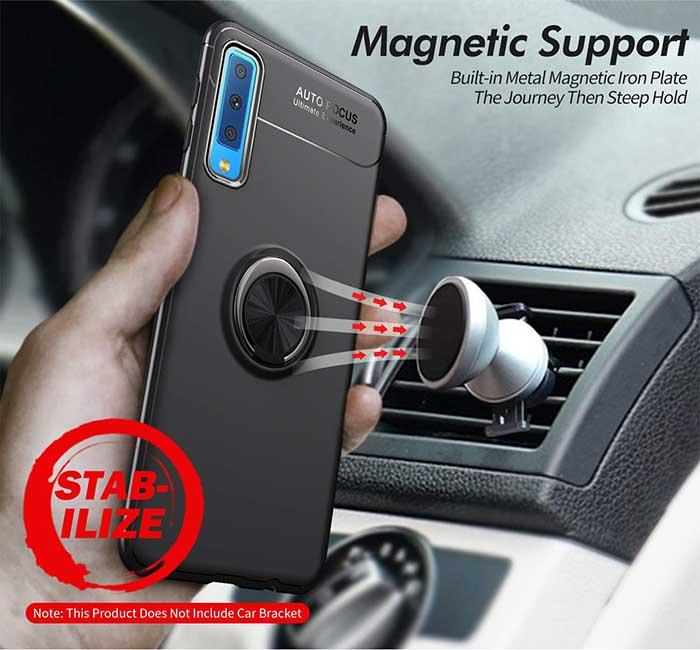 قاب طرح چرم انگشتی سامسونگ Becation Magnetic Ring Case Galaxy A7 2018 | A750