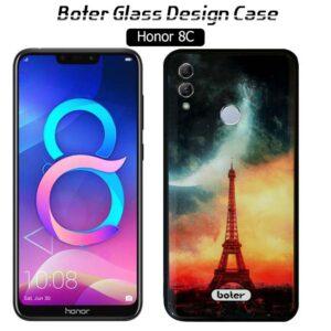 قاب براق طرح سرامیک آنر Boter Tempered Glass Eiffel Case | Honor 8C