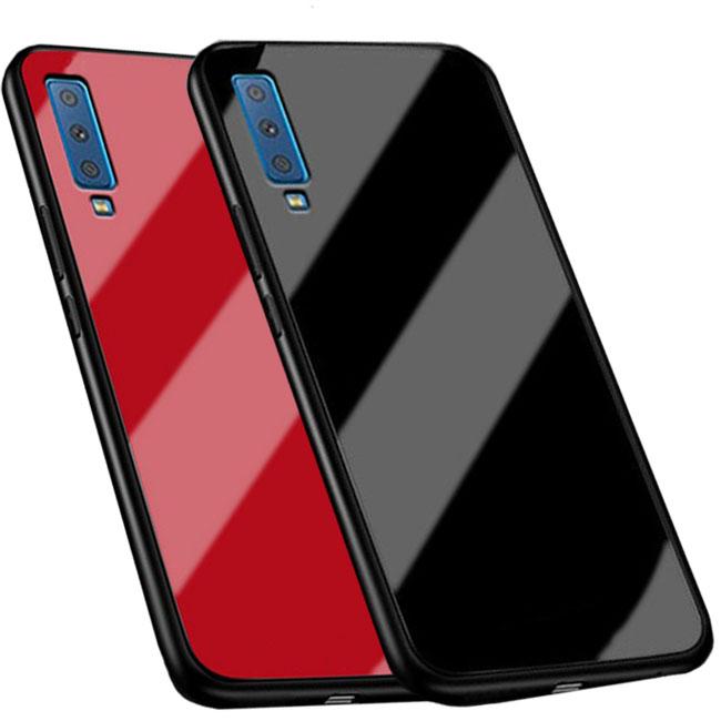 قاب پشت گلس سامسونگ Luxury TPU Bamper + Glass Case Galaxy A7 2018 | A750 |