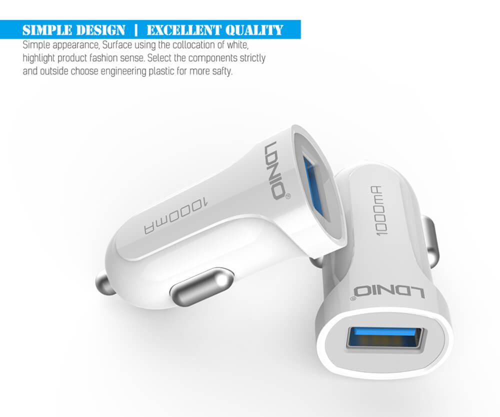 شارژر فندکی تک پورت الدینیو LDNIO 1000mA ios & Micro USB Car Charger | DL-C17