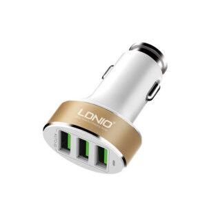 شارژر فندکی سریع 3پورت الدینیو LDNIO 3 USB 5.1A Car Charger | C501