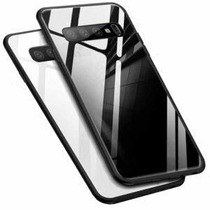 قاب محافظ پشت گلس سامسونگ Luxury TPU Bamper + Glass Case | Galaxy S10
