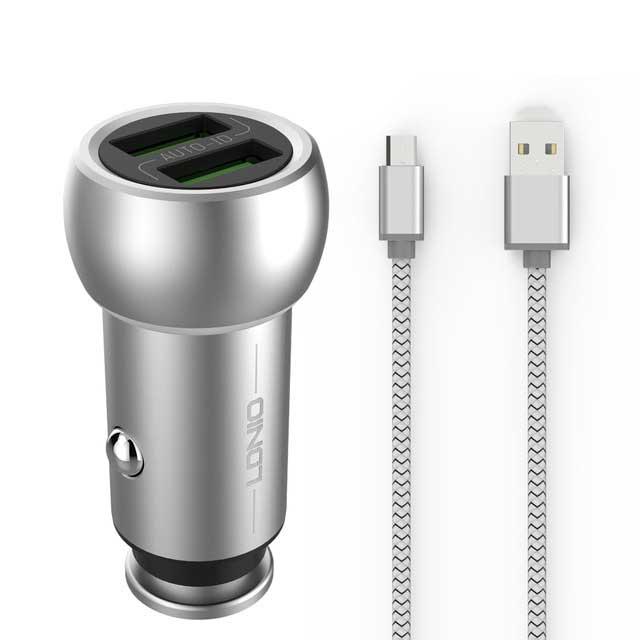 شارژر فندکی سریع دو پورت الدینیو LDNIO Zinc Alloy Dual USB Car Charger   C401  