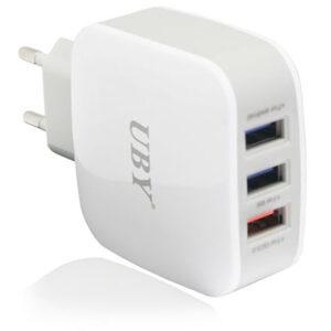 شارژر فست هوشمند یو بی وای UBY 3 USB Port Qualcomm 3.0 Charger   U-109