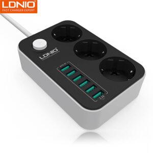 سه راهی و هاب شارژر الدینیو LDNIO 3 AC & 6 USB Port Auto ID Fast Charger | SE3631