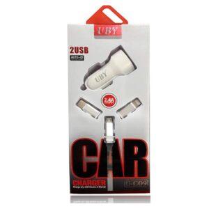 شارژر اتومبیل مدل فندکی یو بی وای UBY Auto ID 2 Port Fast Car Charger | U-C09