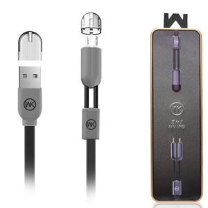 کابل دیتا و شارژ دبلیو کی Wk Design 2in1 Lightning Micro Magnet Cable | WDC-001