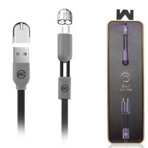 کابل دیتا و شارژ دبلیو کی Wk Design 2in1 Lightning Micro Magnet Cable   WDC-001