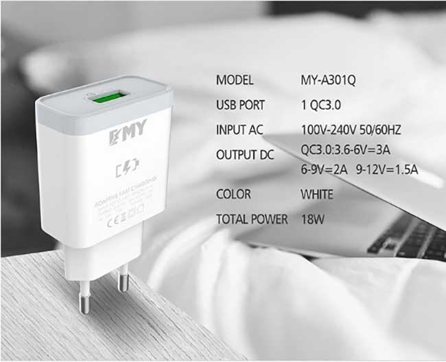 شارژر دیواری فست تک پورت امی EMY Qualcomm 3.0 Fast Charger | MY-A301Q