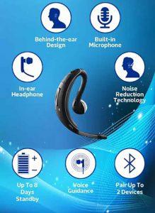 هندزفری تک گوش جبرا JABRA WAVE Wind Noise Reduction Headphone   BT3040