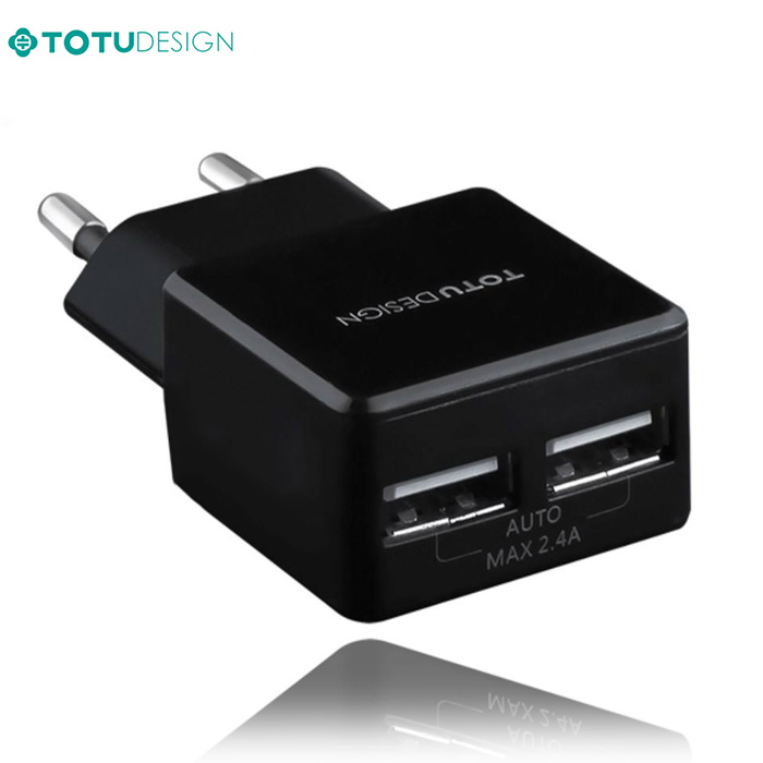 شارژر هوشمند تتو Totu 2.4A Auto ID Dual Travel Charger | AC20