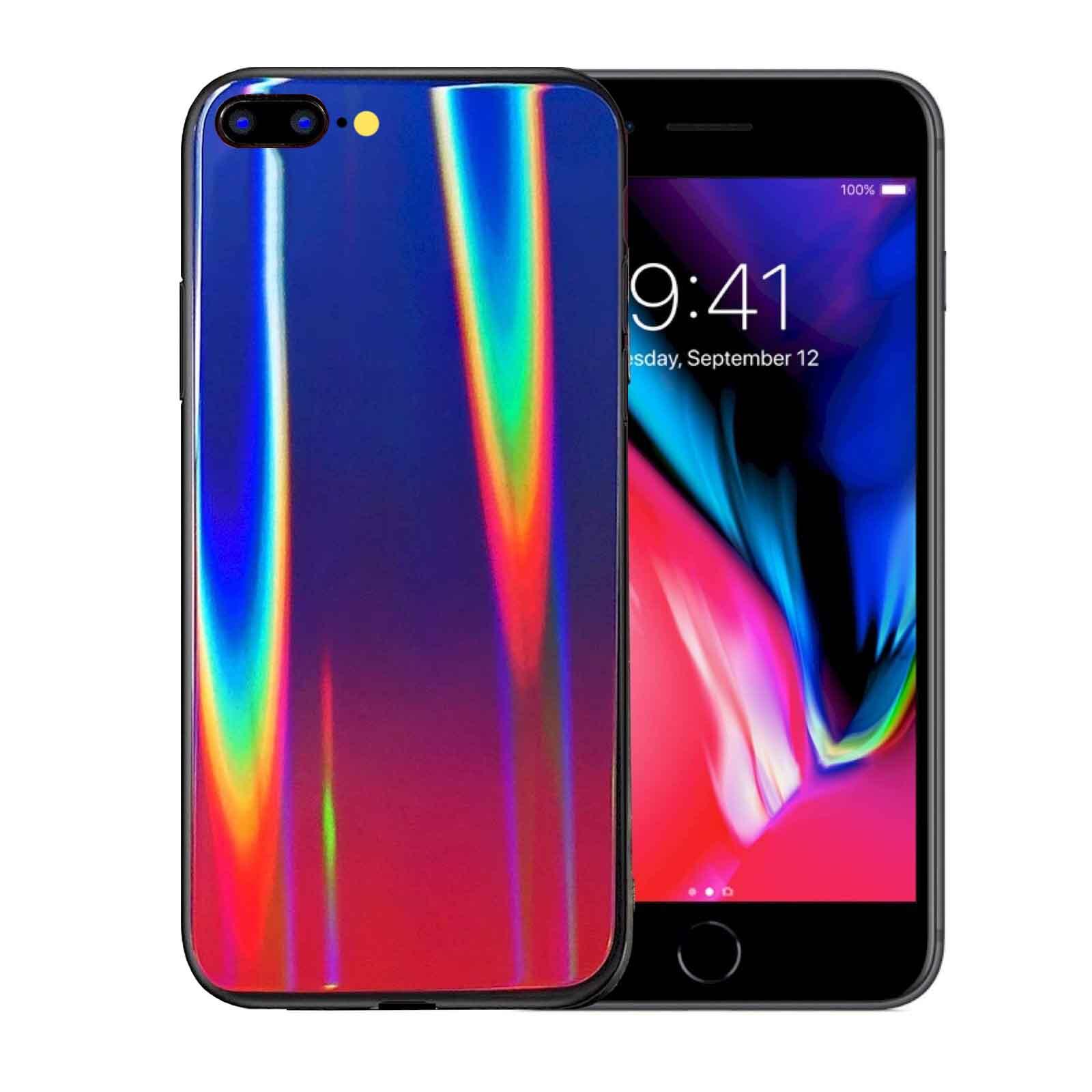 قاب لیزری آیفون Baseus Glass Laser Gradient Aurora Cover iphone 7 Plus | 8 Plus