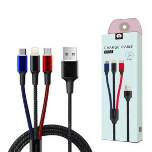 کابل شارژ و دیتا WUW X101 Charge & Data 3 in 1 Cable